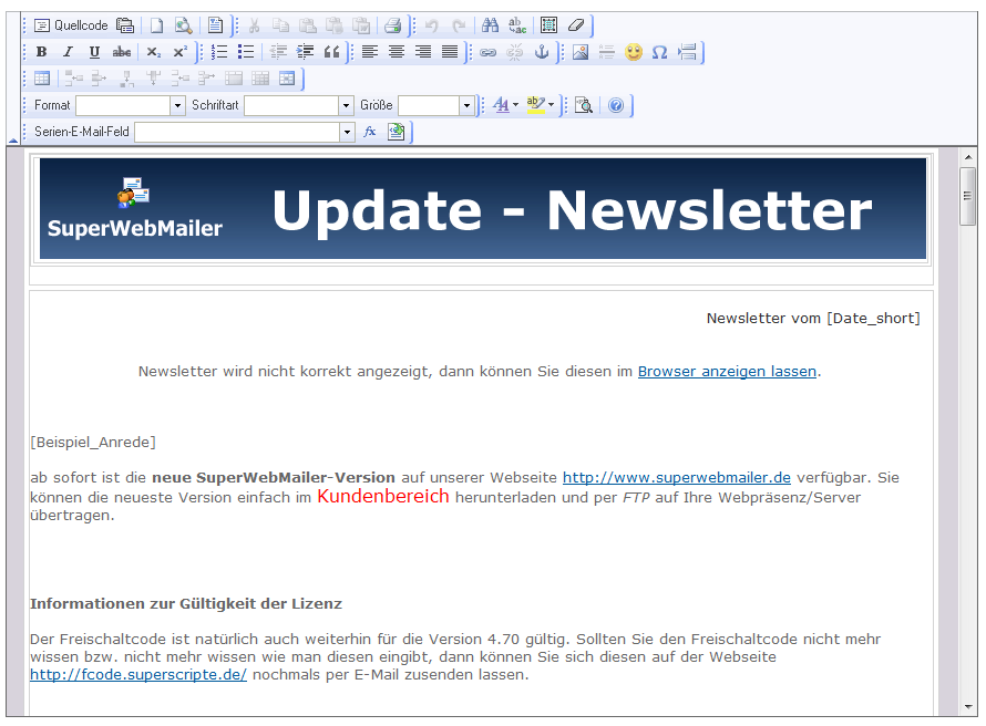 PHP Newsletter Software und E-Mail-Marketing Software zum HTML Newsletter erstellen und HTML Newsletter versenden ink. Follow Up Autoresponder Software